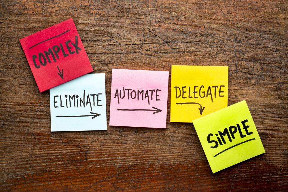 Task management concept: eliminate, automate, delegate